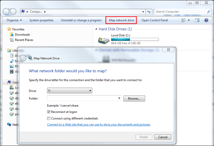 How to Map a Network Drive in Windows 7 - Modem Friendly Map A Network on map network scanner, live well network, map people,