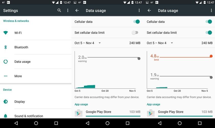 mobile data usage limit