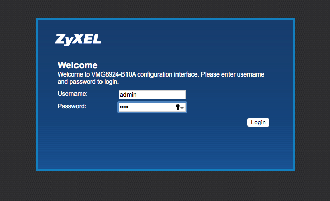 default IP address to log in to your router